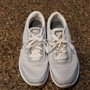 White and grey Nike shoes